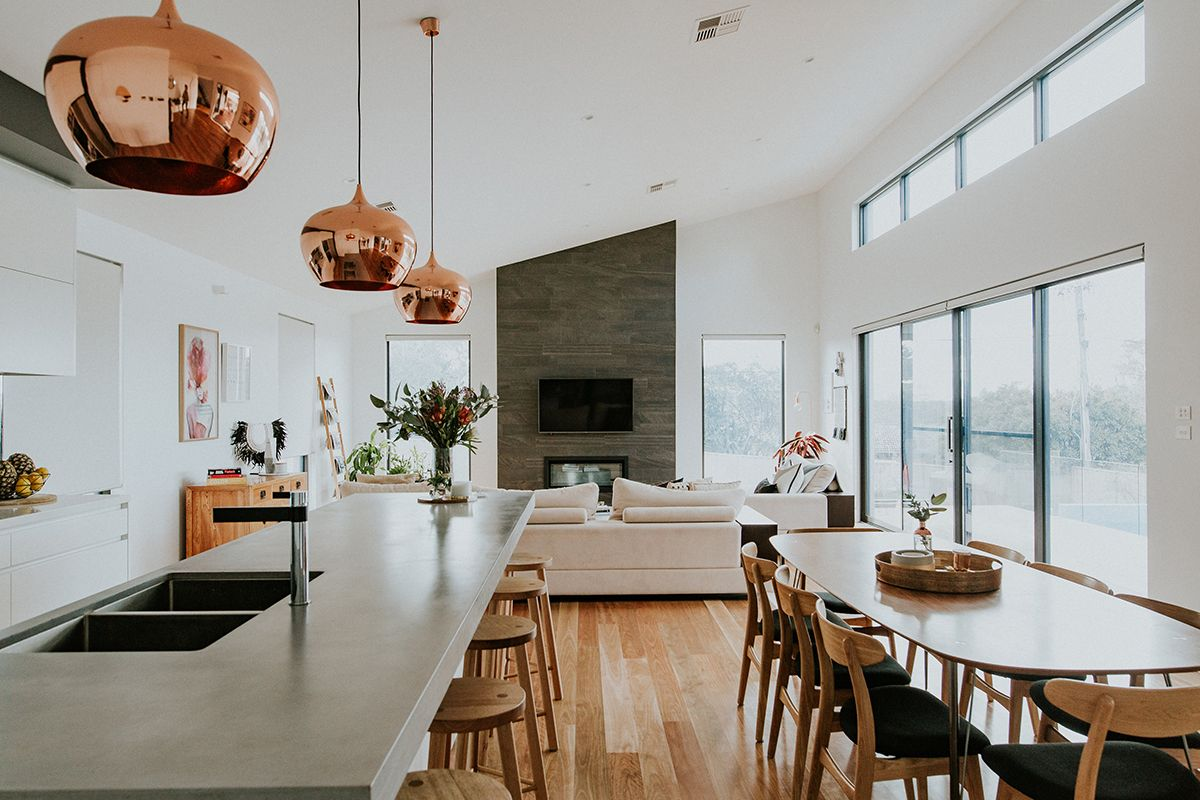 Chifley house in canberra australia designed by studio black interiors this open plan kitchen dining and living area is contemporary but full of warmth