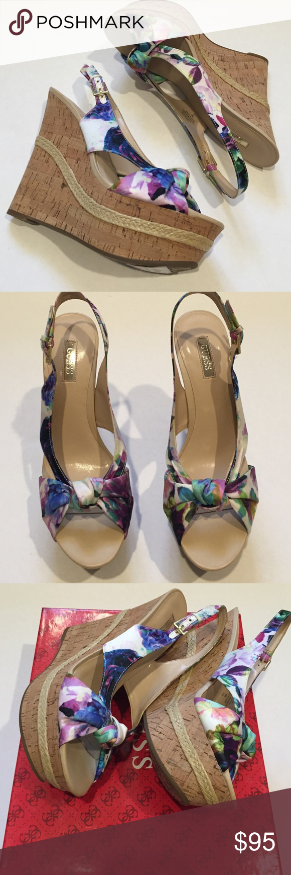 Guess Multi-Colored Floral wedge 8 NWT and box in excellent condition. Be the style of summer with these multi-colored floral wedge sling-backs! Adjustable ankle strap and cute twist detail on peep-toe. 2 inch platform and 5.5 inch heel. GUESS Shoes Wedges