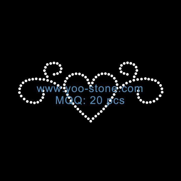 Beautiful Crystal Swirl Heart Hot Fix Rhinestone Motif Design