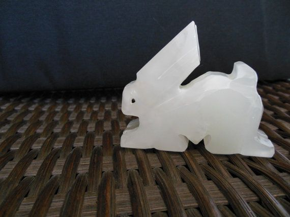 Vintage Alabaster Bunny Rabbit Hand Carved By Loonlakevintage