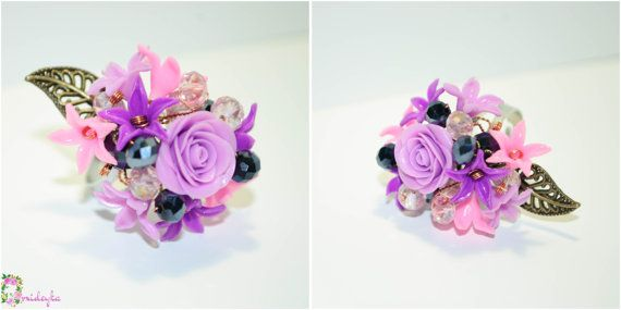Unique flower necklace earrings and ring with by OrxideykaStudio