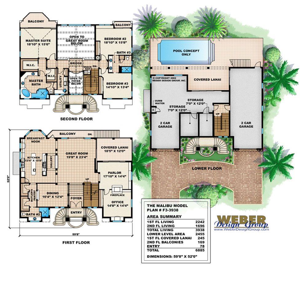 Mediterranean House Plan 3 Story Luxury Beach Home Floor Plan Malibu Homes House Plans Beach House Plans
