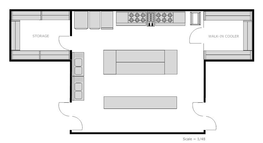 Kitchen restaurant floor plan plans examples for free for Commercial floor plans free