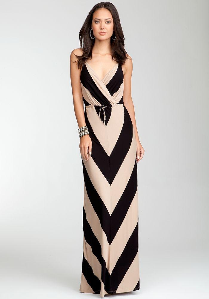 Mietered Stripe Maxi Dress - bebe