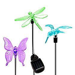 OxyLED Solar Garden Lights, Hummingbird, Butterfly U0026 Dragonfly Solar Stake  Lights, Solar Powered