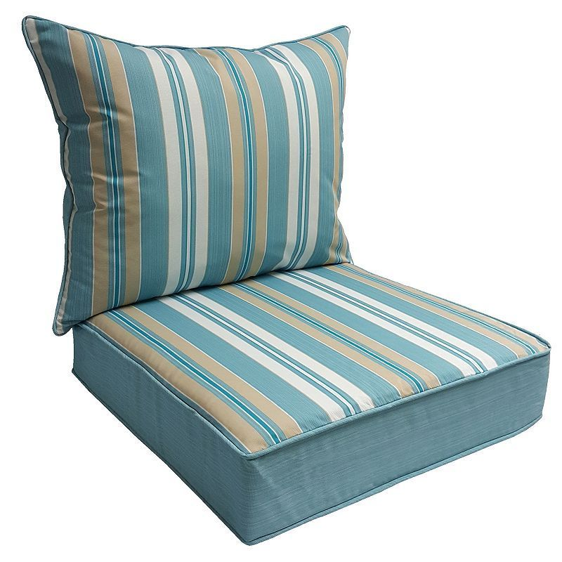 Sonoma Goods For Life 2 Piece Suntastic 1000 Striped Indoor Outdoor Reversible Deep Seat Cushion Set Deep Seat Cushions Indoor Indoor Outdoor