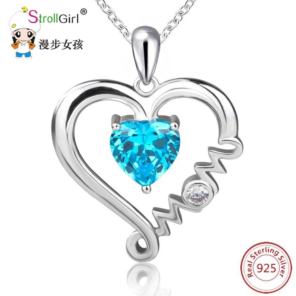 Lady Fashion Jewelry Chaîne Pour femmes 925 Sterling Love cœur zircon cubique collier pendentif