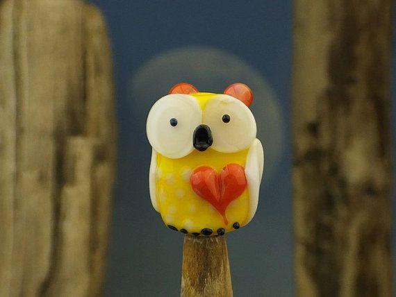 Saylor sweet Pea.... lampwork focal owl bead... by DeniseAnnette, $13.00