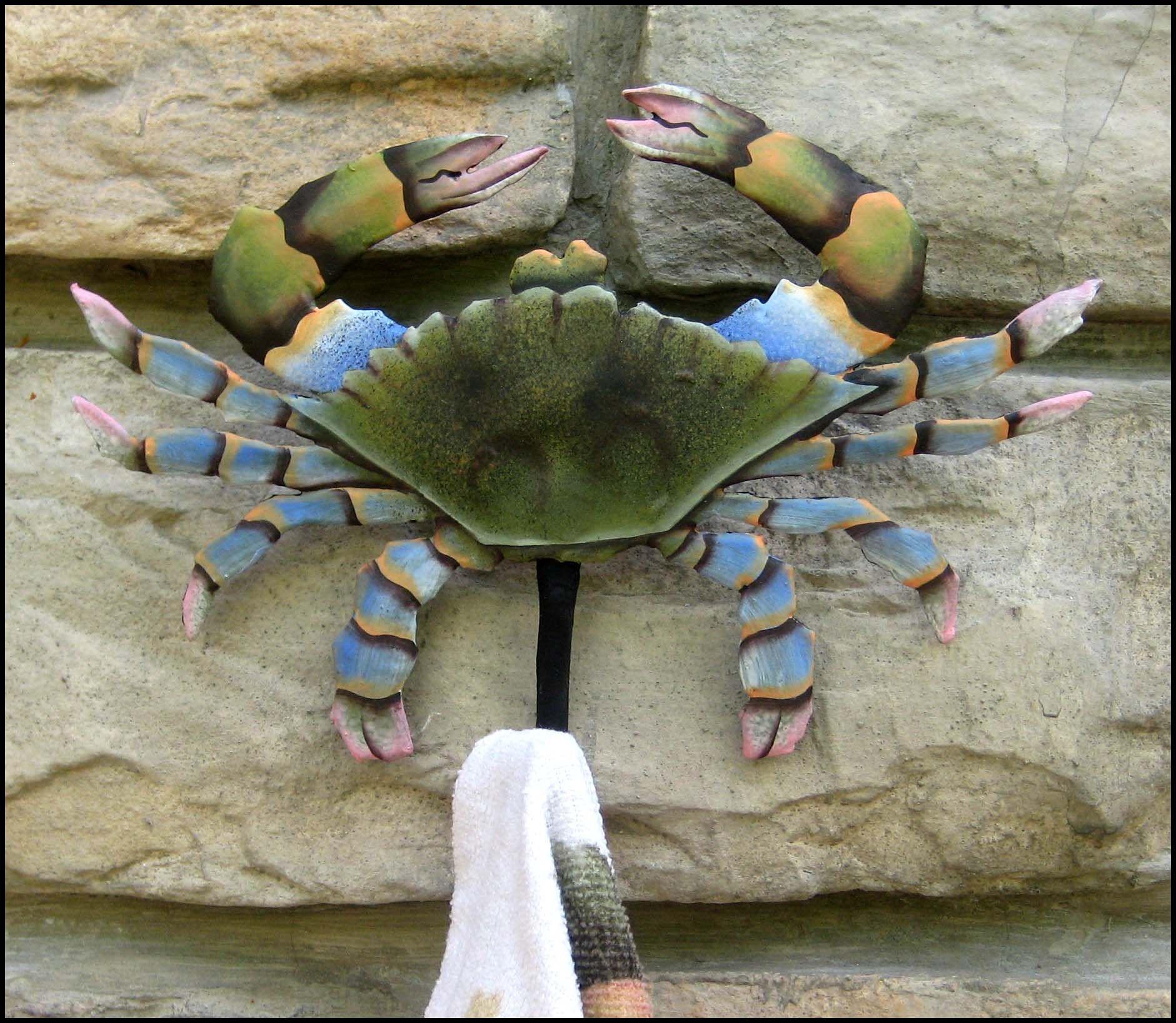 Crab Wall Hook 5 X 6 Metal Hook Metal Art Painted Metal Towel Hook Coastal Decor Blue Crab Beach Decor Nautical Decor K 7066 Sh Nautical Art Metal Art Metallic Paint