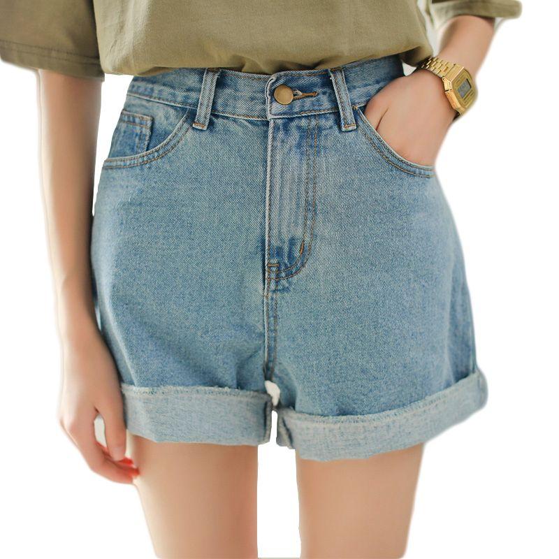 Light blue high waisted jean shorts for women summer rolled hem denim shorts  ladies girls plus size casual chic shorts femme  7f6ec888efe