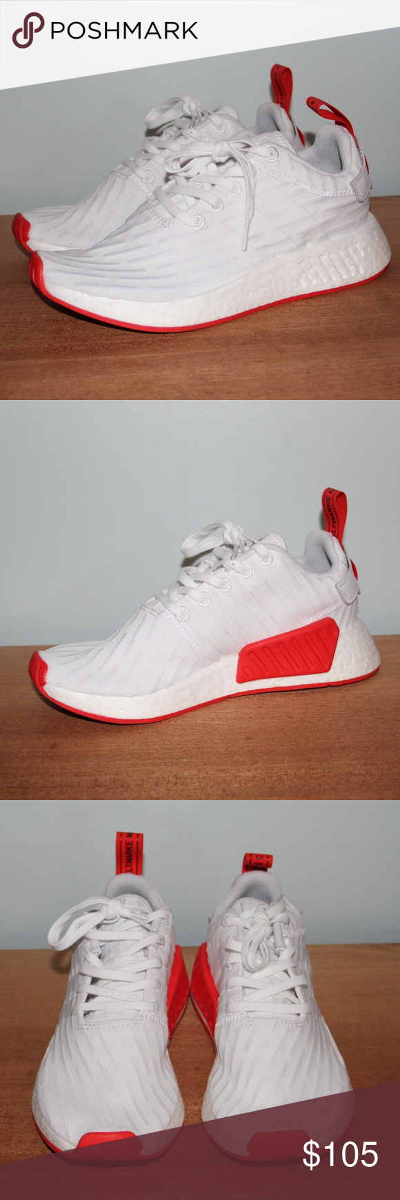 8d935ad3b9c21 NWOB Adidas NMD R2 PK Primeknit White Red 5.5 Brand new without box Men s  size 5.5