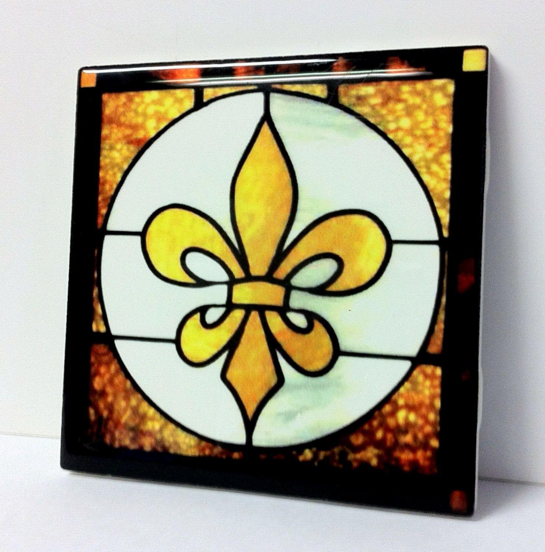Fleur De Lis Ceramic Tile Set By Thethingsthatwedo On Etsy 14 00