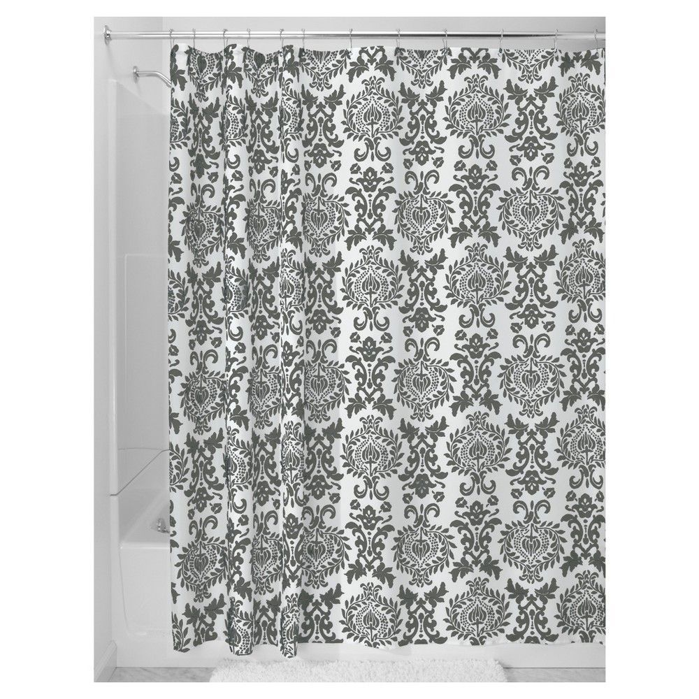 Damask fabric shower curtain stall charcoal