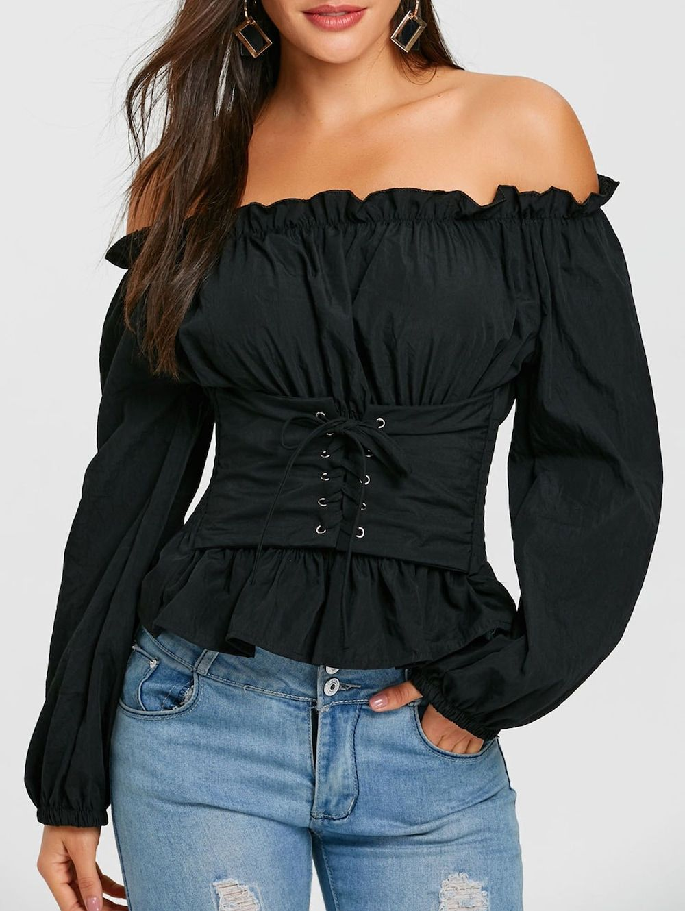 8ad8cb8f4554 Lace Up Smocked Off The Shoulder Blouse - BLACK ONE SIZE