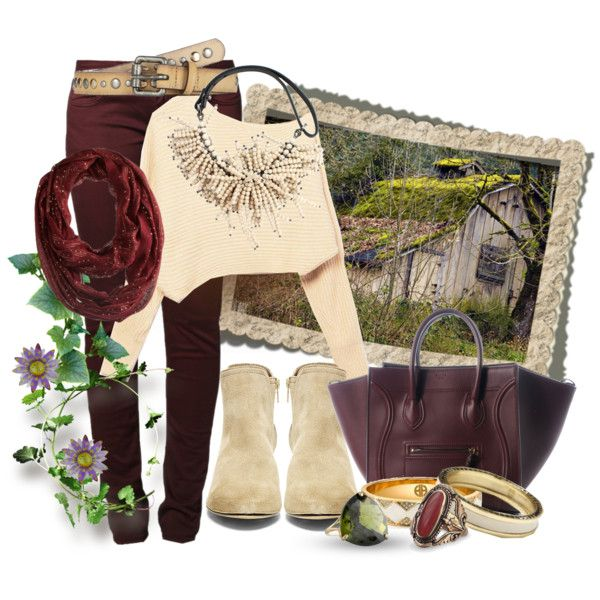 """""""Wine, the color of Fall"""" by lacindasarco on Polyvore Won 1st place, creating a set using the win colored jeans."""