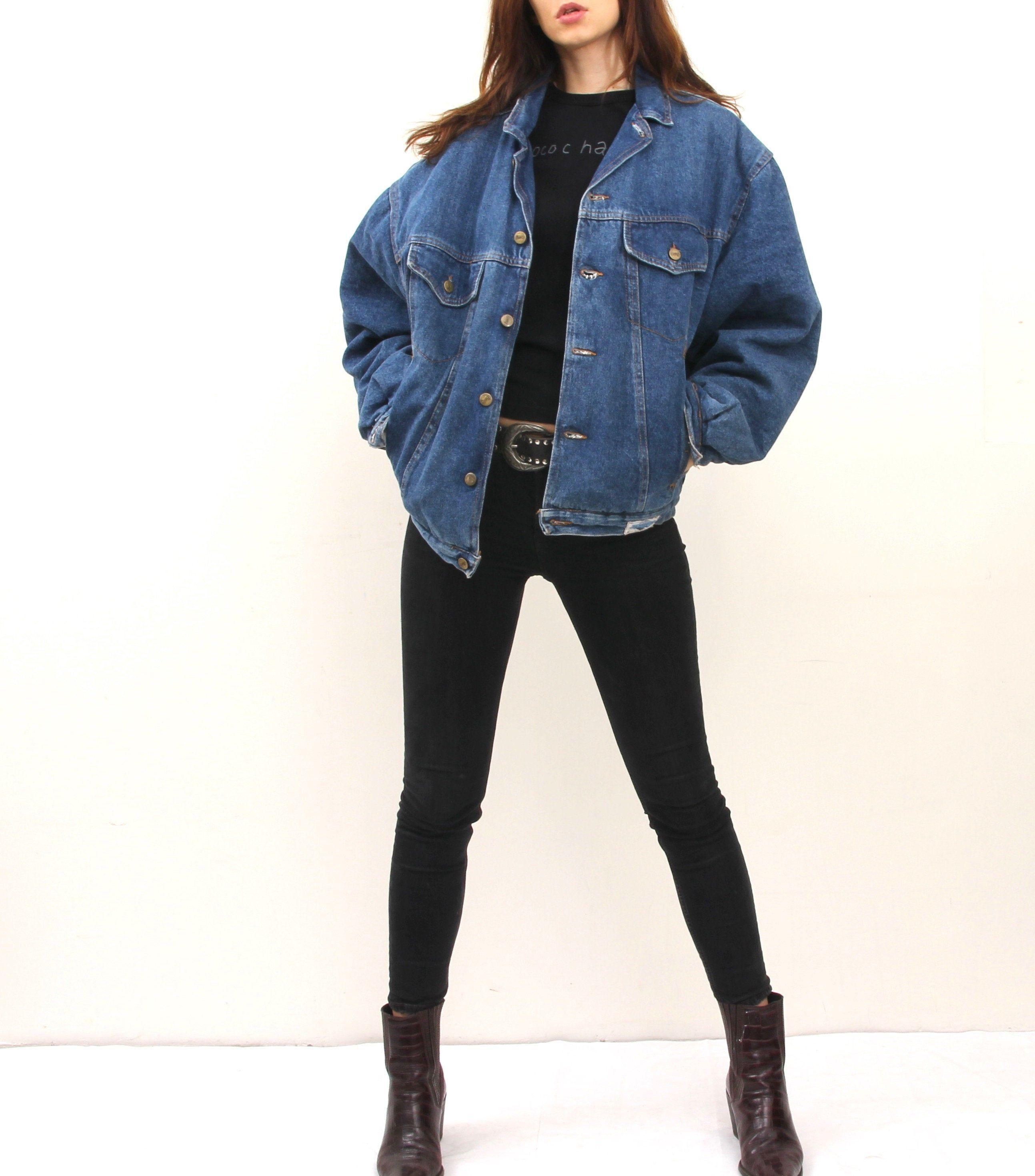 Warmed Denim Jacket Plaid Lined Jean Jacket Large Oversized Jeans Jacket L Vintage Jack In 2020 Oversized Denim Jacket Outfit Jean Jacket Outfits Jacket Outfit Women
