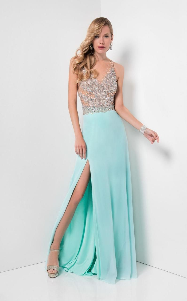 Terani Couture - Crystal Embellished Sheer Illusioned Bodice Prom ...