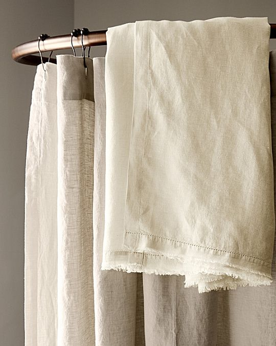 Eileen Fisher Washed Linen Shower Curtain Luxury Shower Curtain