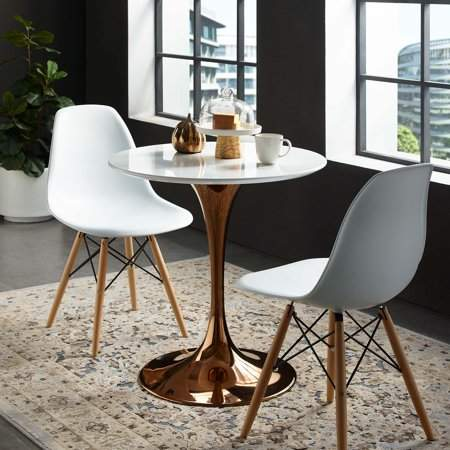 Modway Lippa 28 Round Dining Table In Rose Gold White Products
