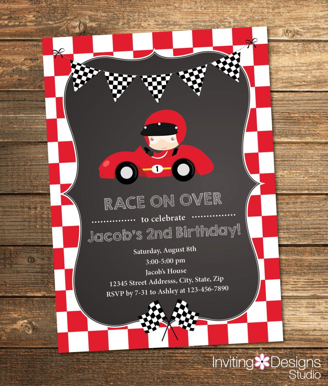 Race Car Birthday Invitation Boy Birthday Second