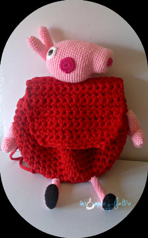 Mochila Peppa Pig, tejida a crochet con trapillo pluma. Siguiendo ...