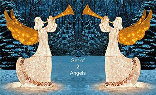 KNLSTORE 5ft Lighted Shimmering Glitter Tinsel Nativity Angel with - outdoor angel christmas decorations