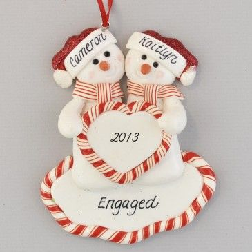 An Engaged Snow Couple Personalized Claydough Ornament Home stuff