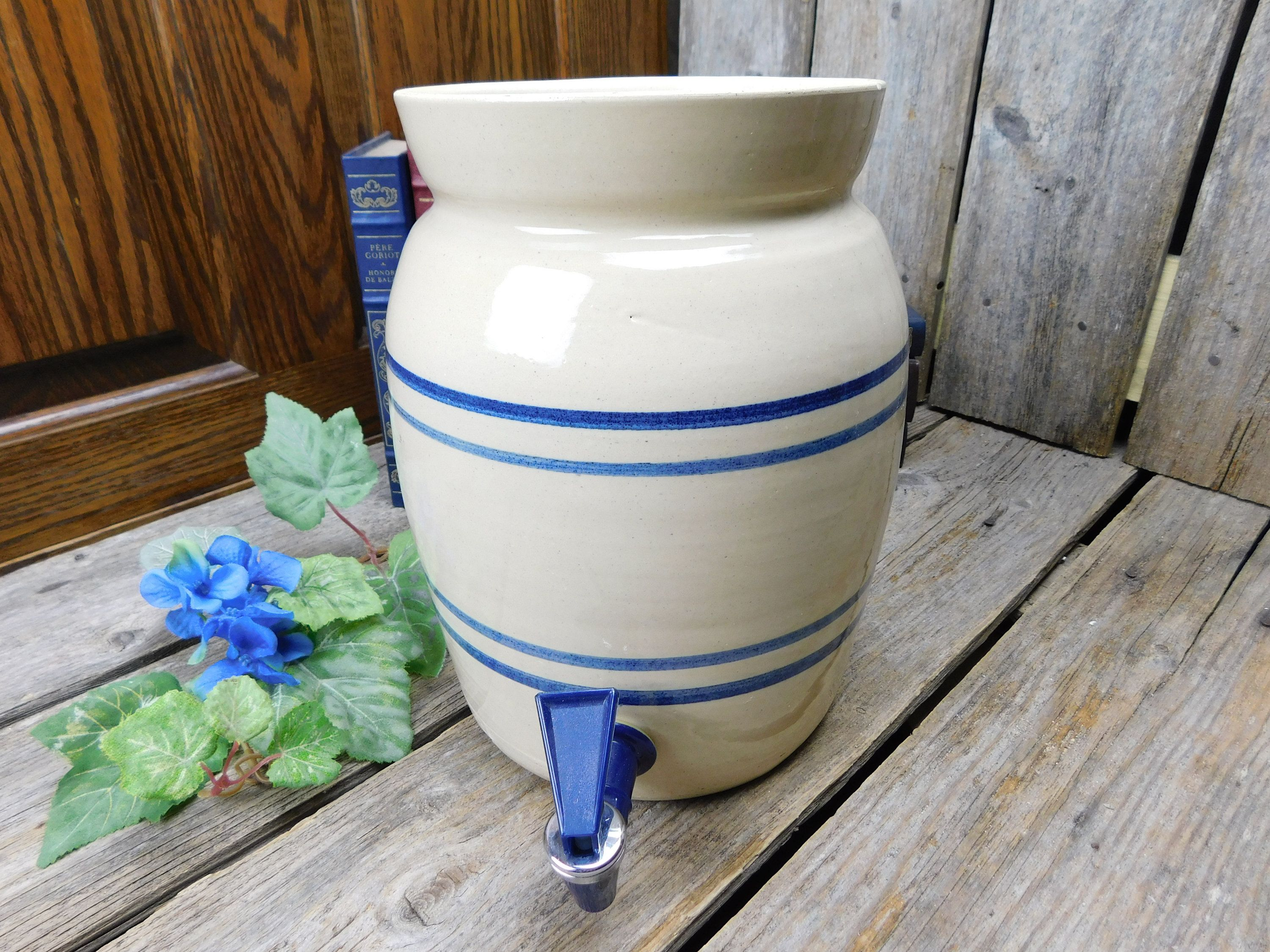 Vintage Marshall Pottery Crock Water Cooler With Spigot Marshall Texas By Allthatsvintage56 On Etsy Marshall Pottery Pottery Primitive Decorating