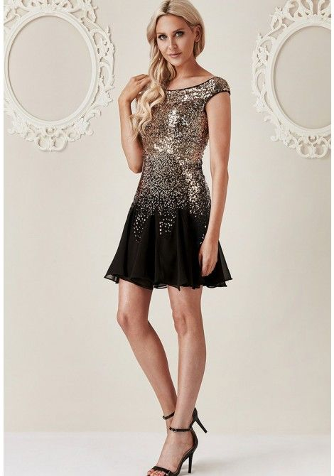 4d04b35a9cda Stephanie Pratt Sequin and Chiffon Mini Dress in Black and Gold ...