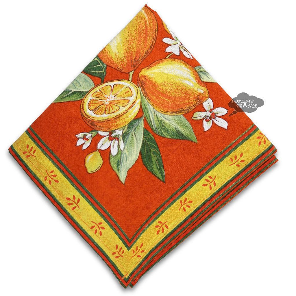 Lemons Orange Provence Cotton Napkin By Tissus Toselli Products  # Muebles En Kaqchikel