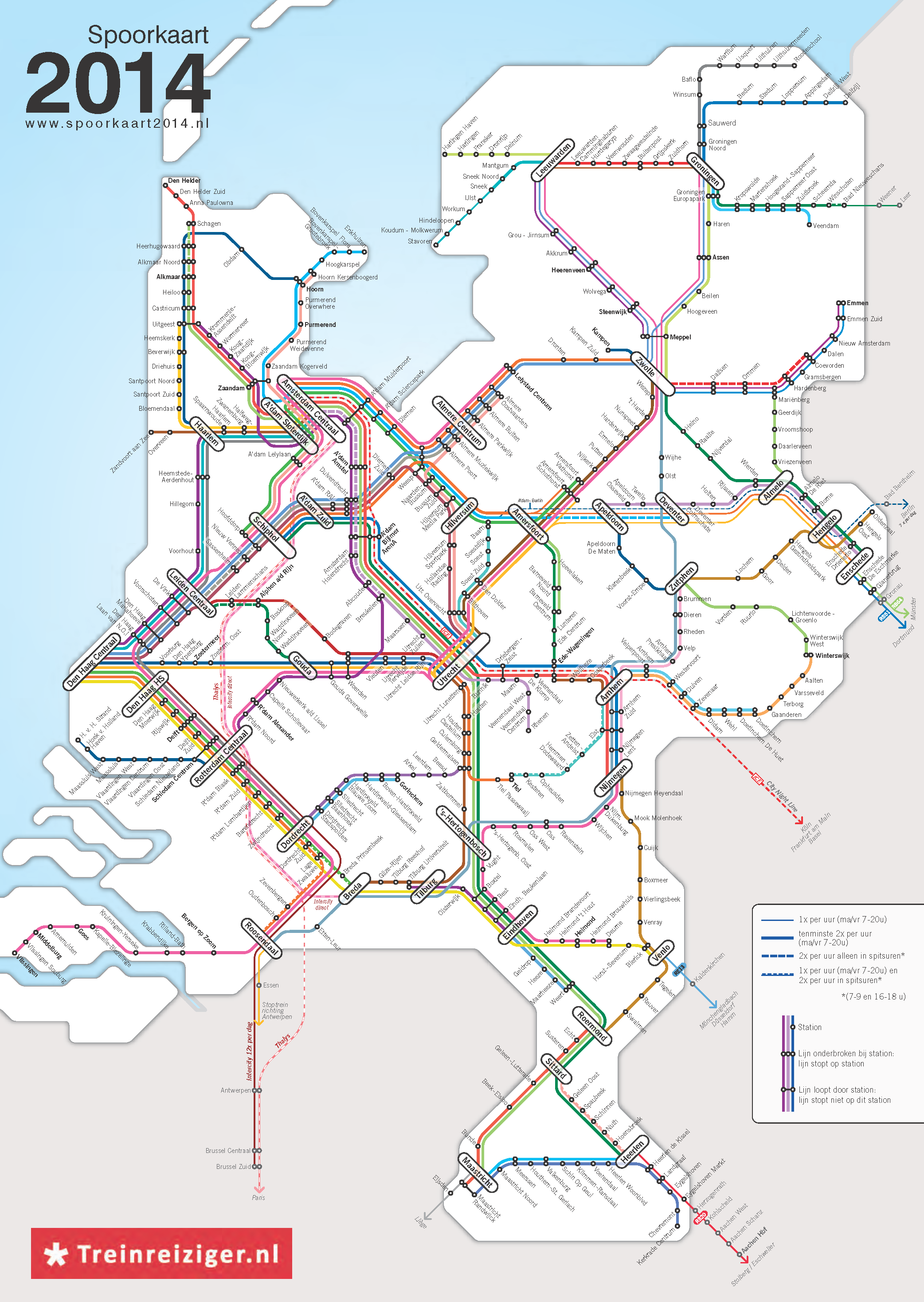 Train lines and their service frequencies in the Netherlands