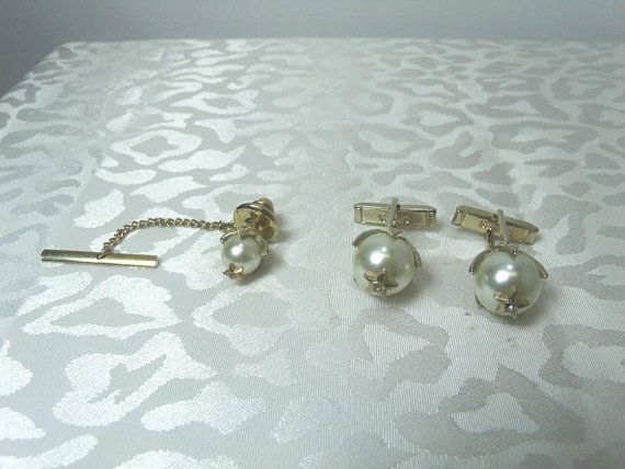 Vintage SWANK Faux Pearl Tie Clasp and Cuff by CatzShinySmiles