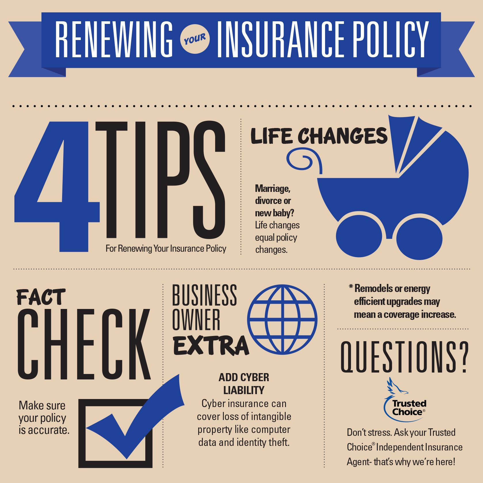 4 Tips For Renewing Your Insurance Policy Don T Stress Ask Your Independent Trusted Choice I Home Insurance