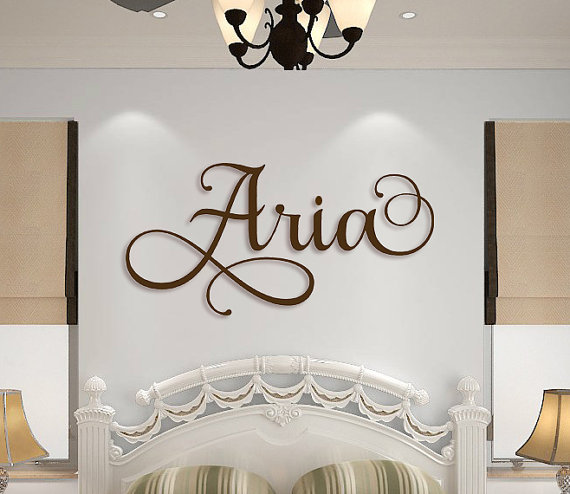 Wooden Name Sign Wall Hanging Letters For Nursery Or Bedroom Art Custom Plaque Cut Out Personalized Cursive