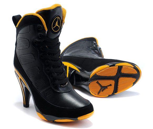 Air Jordan 9 High Heels Black Yellow For Women  7123b837d