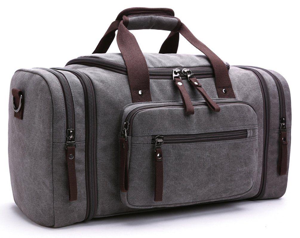 6be42b09b9 Kenox Oversized Canvas Travel Tote Luggage Weekend Duffel Bag (Grey ...