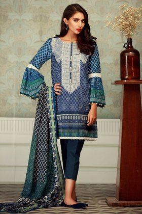5e199276a9 Khaadi Lawn 3 Piece Printed Mid Summer Collection Stitched Suit -  B17510-BLUE