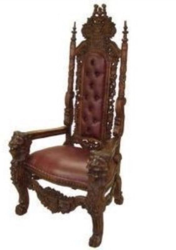 Carved Mahogany Hand Lion Head Gothic Throne Kings Chair