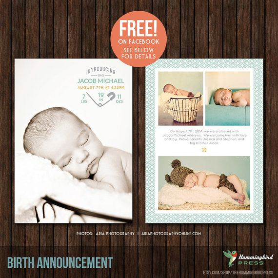 5x7 Birth Announcement Photo Card Template, Newborn Announcement - announcement template free