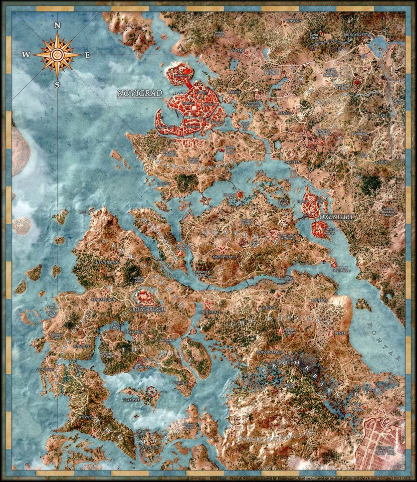 Witcher Wild Hunt Map Velen Novigrad postersize by