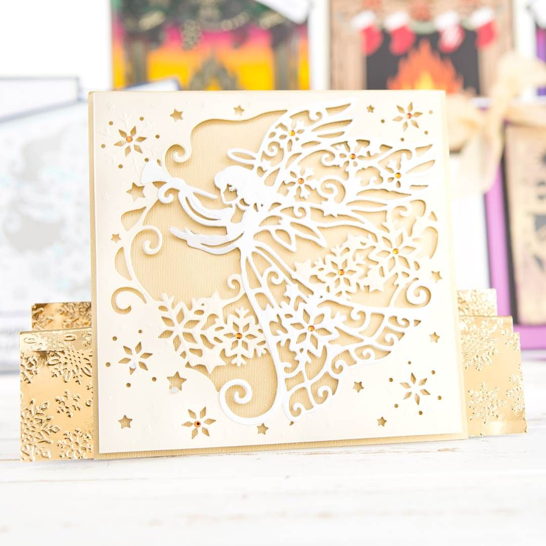 Beautiful white and gold themed #Christmas card from the Die Sire ...
