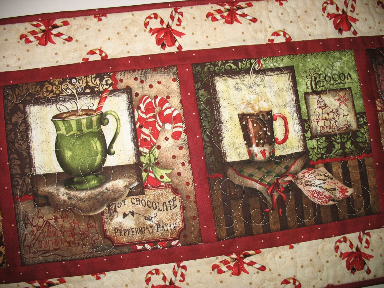 Christmas Table Runner,  Wall Art, Hot Chocolate, Coffee quilted,  fabric from Wilmington Prints by PicketFenceFabric on Etsy
