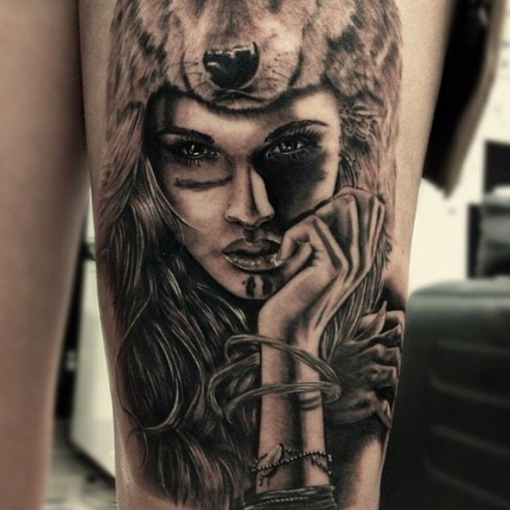 Tattoos By Drew Apicture Inked Magazine Headdress Tattoo Wolf Girl Tattoos Girl Tattoos