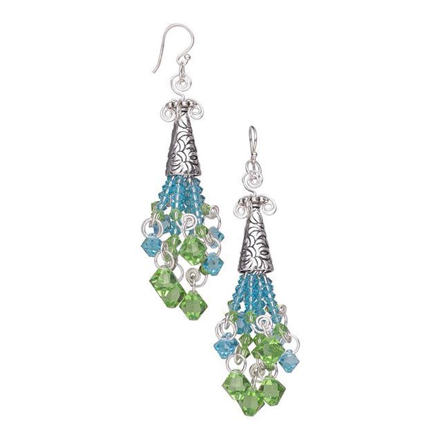 Design Idea B601 from Fire Mountain Gems and Beads called Celebration Earrings. To view a materials list at firemountaingems.com, simply copy and paste this url into your browser:  http://fmg.co/Tp4Sj5  #jewelrymaking #firemountaindesigns #diyholiday #diyjewelry  #diyearrings