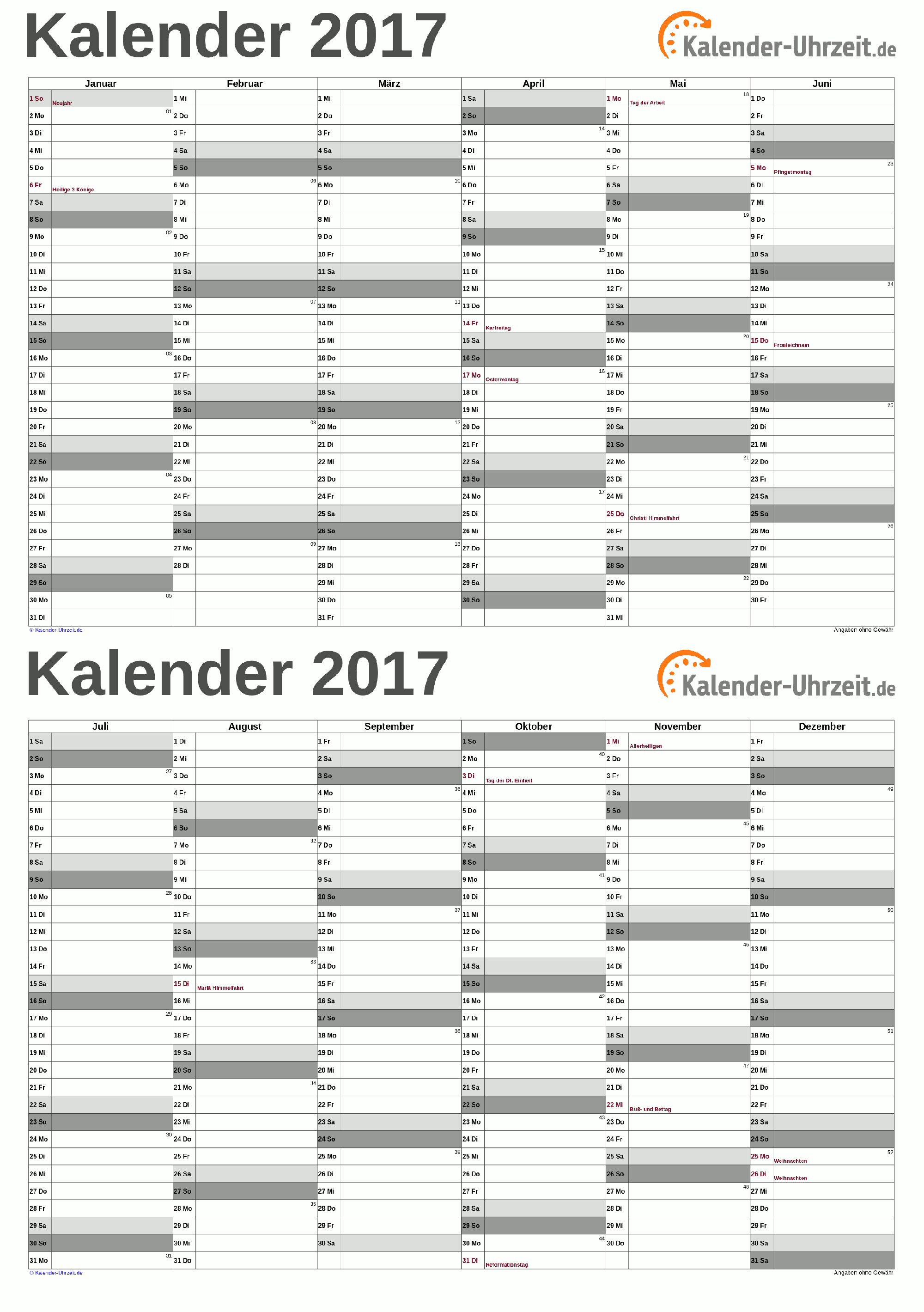 kalender 2017 a5 pdf vorlage grau kaluhr weitere kalender vorlagen 2017. Black Bedroom Furniture Sets. Home Design Ideas