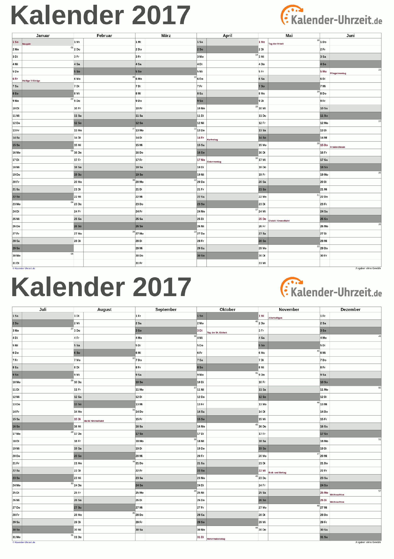 Kalender 2017 A5 PDF Vorlage grau KalUhr Weitere Kalender