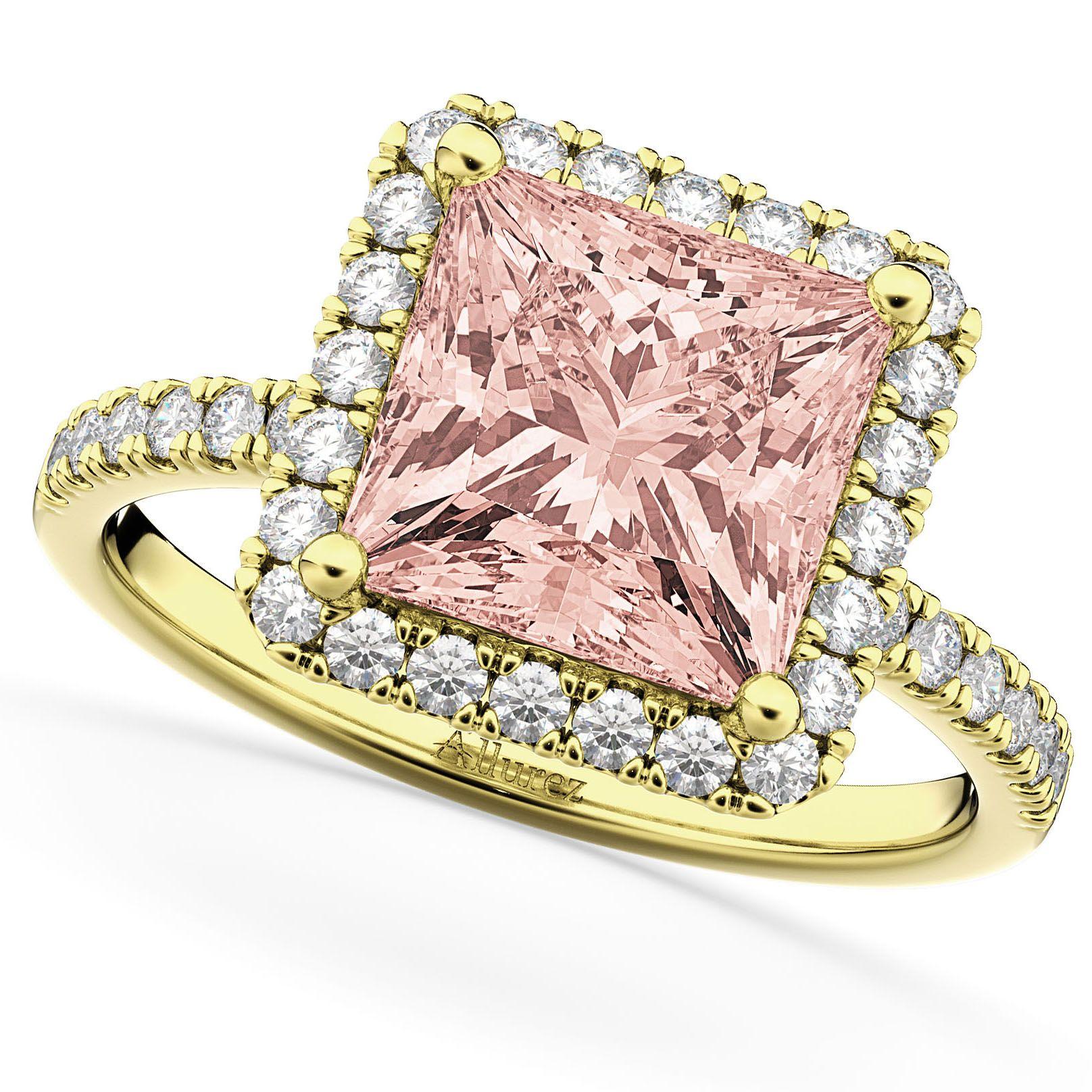 Princess Cut Halo Morganite & Diamond Engagement Ring 14K Yellow ...