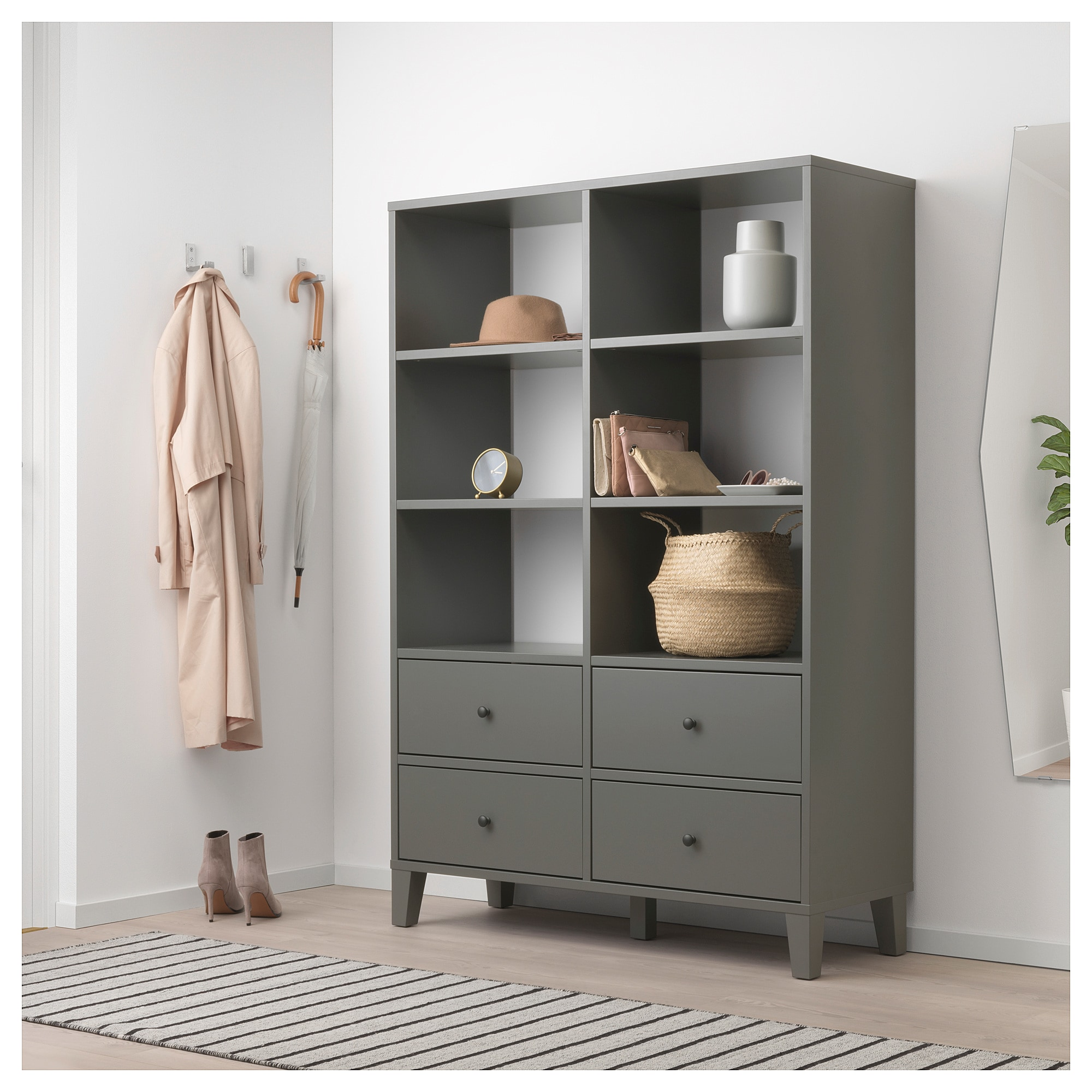 Bryggja Storage Unit Dark Gray 47 1 4x68 1 8 Bedroom Storage For Small Rooms Apartment Storage Storage Solutions Bedroom