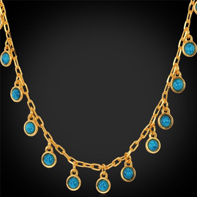 U7 Turquoise Turkey Natural Stone Jewelry Gift For Women Yellow Gold Plated Necklace Turkish jewelry N411