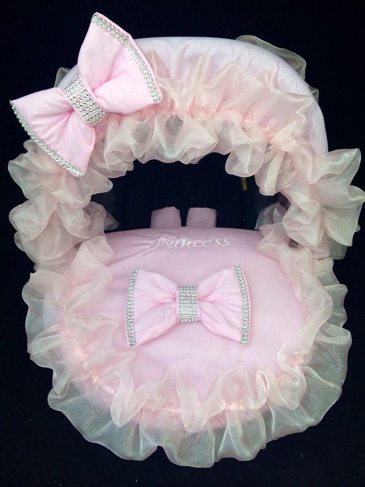 Baby Car Seat Footmuff Covers Personalised Pink Bling Hood